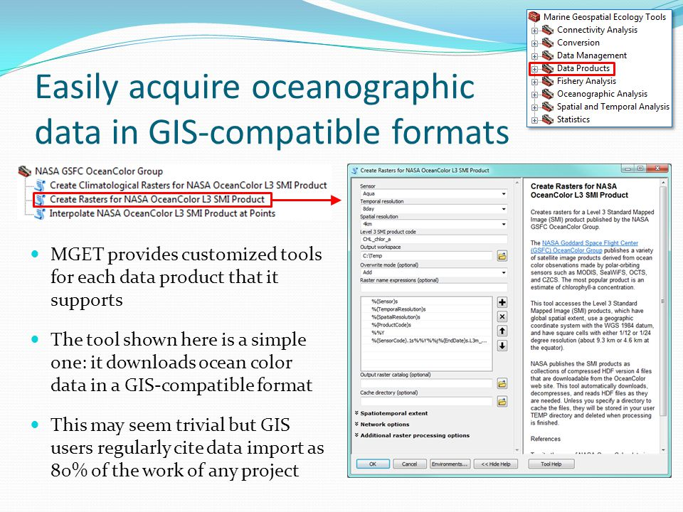 Easily acquire oceanographic data in GIS-compatible formats MGET provides customized tools for each data product that it supports The tool shown here