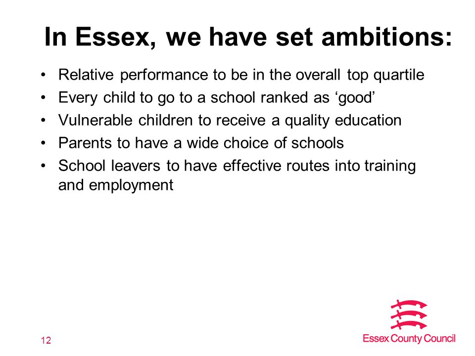 In Essex, we have set ambitions: Relative performance to be in the overall top quartile Every child to go to a school ranked as 'good' Vulnerable children to receive a quality education Parents to have a wide choice of schools School leavers to have effective routes into training and employment 12