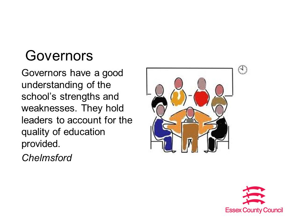 Governors Governors have a good understanding of the school's strengths and weaknesses.