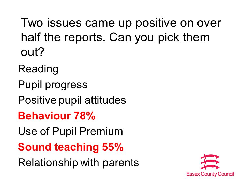 Two issues came up positive on over half the reports.