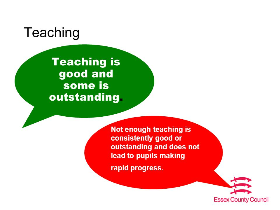 Teaching Teaching is good and some is outstanding.