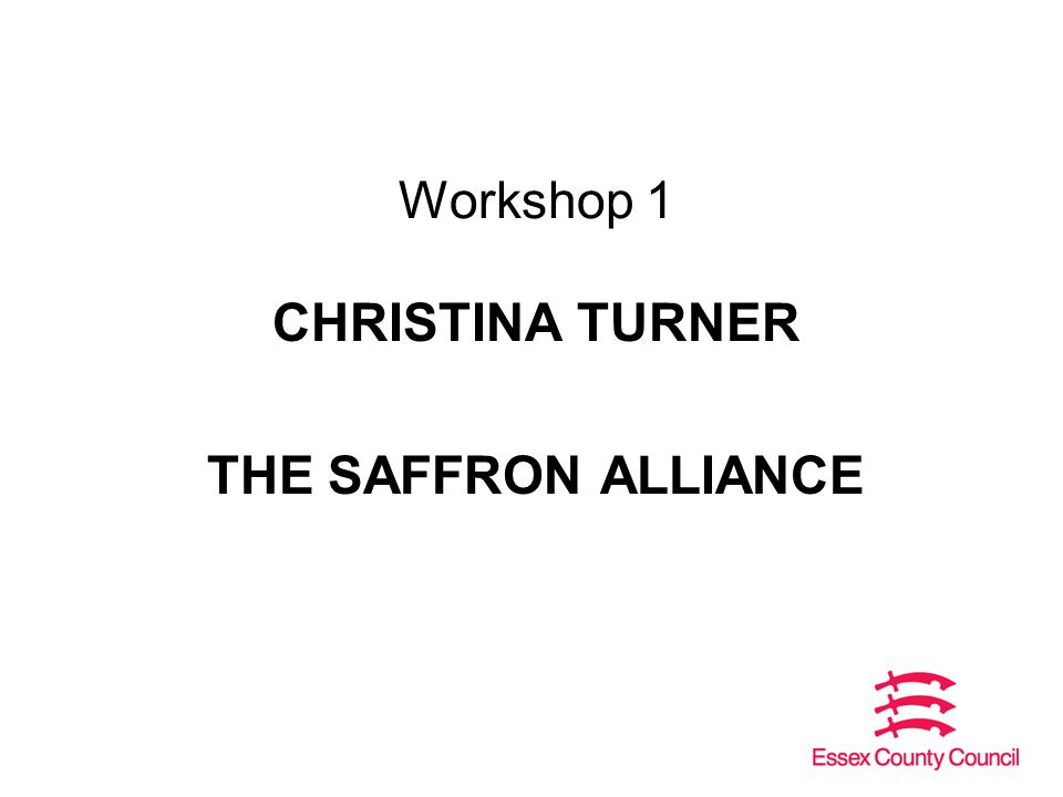 Workshop 1 CHRISTINA TURNER THE SAFFRON ALLIANCE