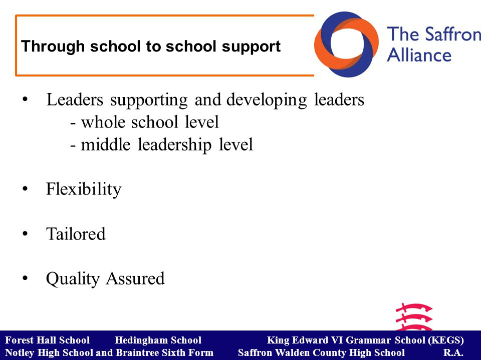 Through school to school support Leaders supporting and developing leaders - whole school level - middle leadership level Flexibility Tailored Quality Assured Forest Hall School Hedingham School King Edward VI Grammar School (KEGS) Notley High School and Braintree Sixth Form Saffron Walden County High School R.A.
