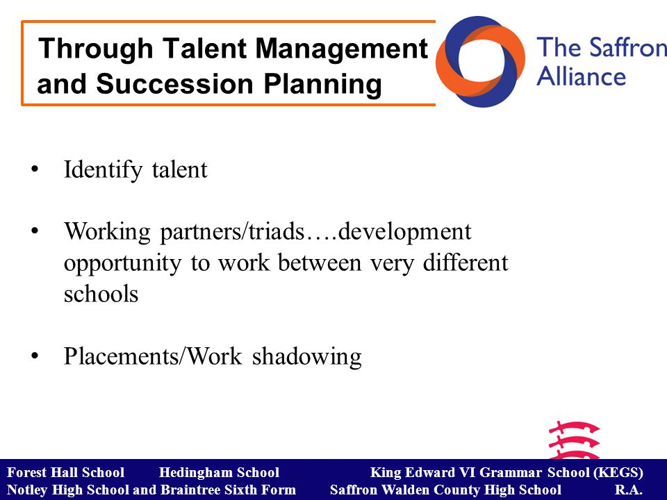 Through Talent Management and Succession Planning Identify talent Working partners/triads….development opportunity to work between very different schools Placements/Work shadowing Forest Hall School Hedingham School King Edward VI Grammar School (KEGS) Notley High School and Braintree Sixth Form Saffron Walden County High School R.A.