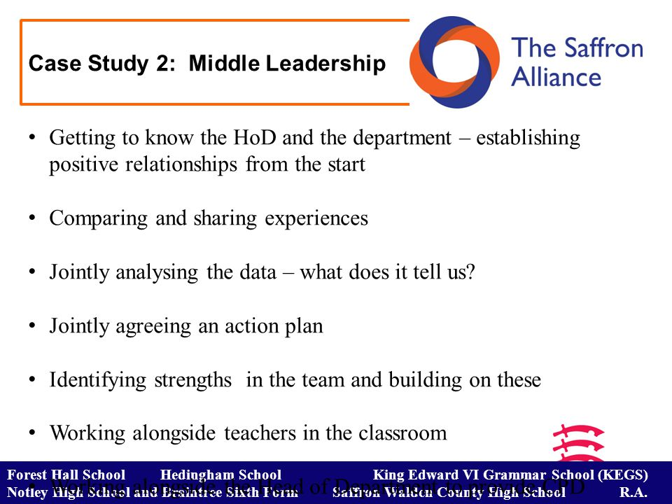 Case Study 2: Middle Leadership Forest Hall School Hedingham School King Edward VI Grammar School (KEGS) Notley High School and Braintree Sixth Form Saffron Walden County High School R.A.