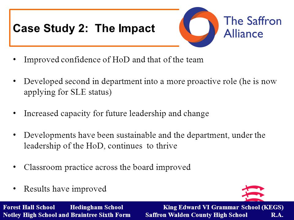 Case Study 2: The Impact Forest Hall School Hedingham School King Edward VI Grammar School (KEGS) Notley High School and Braintree Sixth Form Saffron Walden County High School R.A.