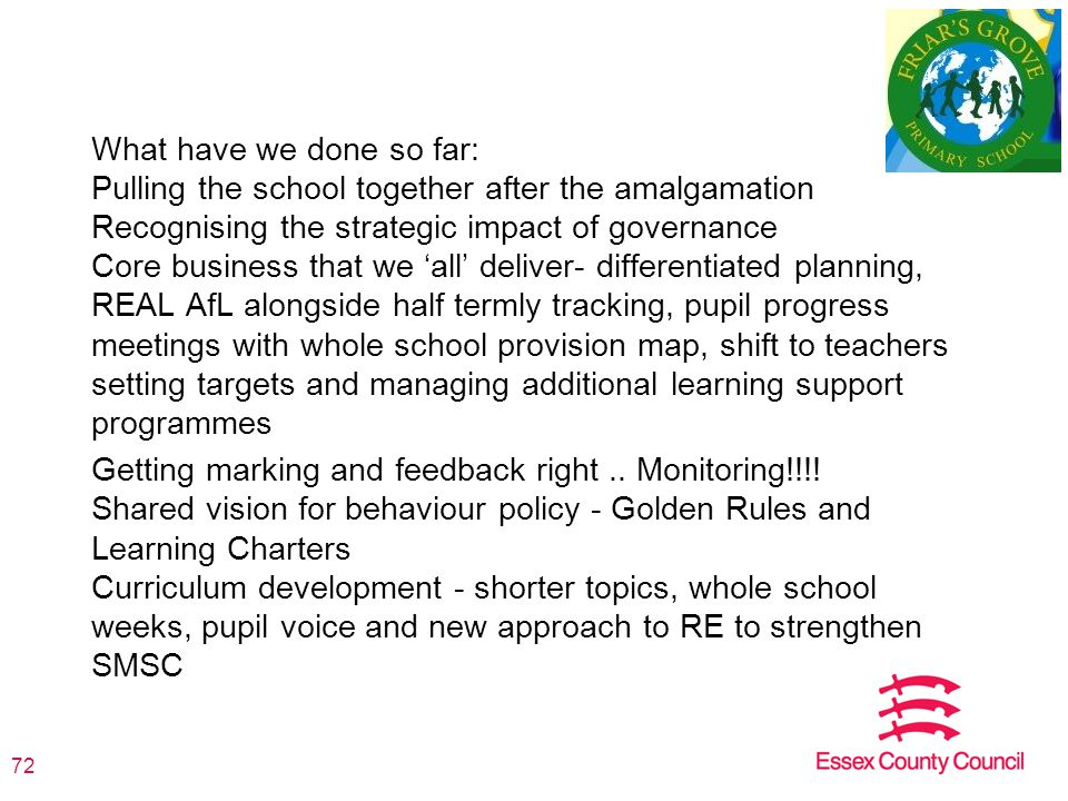 What have we done so far: Pulling the school together after the amalgamation Recognising the strategic impact of governance Core business that we 'all' deliver- differentiated planning, REAL AfL alongside half termly tracking, pupil progress meetings with whole school provision map, shift to teachers setting targets and managing additional learning support programmes Getting marking and feedback right..