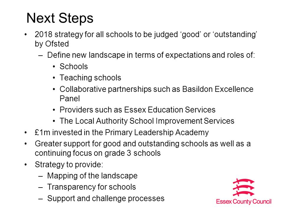 Next Steps 2018 strategy for all schools to be judged 'good' or 'outstanding' by Ofsted –Define new landscape in terms of expectations and roles of: Schools Teaching schools Collaborative partnerships such as Basildon Excellence Panel Providers such as Essex Education Services The Local Authority School Improvement Services £1m invested in the Primary Leadership Academy Greater support for good and outstanding schools as well as a continuing focus on grade 3 schools Strategy to provide: –Mapping of the landscape –Transparency for schools –Support and challenge processes