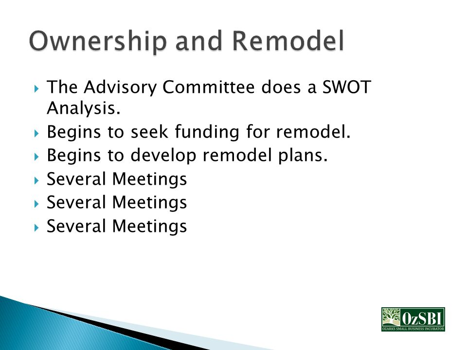  The Advisory Committee does a SWOT Analysis. Begins to seek funding for remodel.