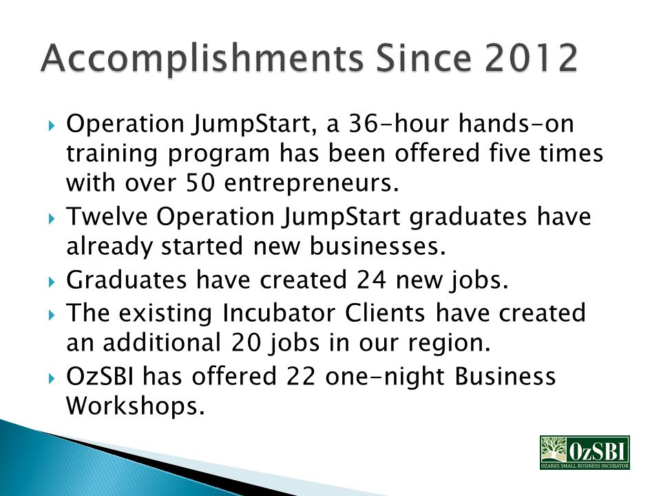  Operation JumpStart, a 36-hour hands-on training program has been offered five times with over 50 entrepreneurs.