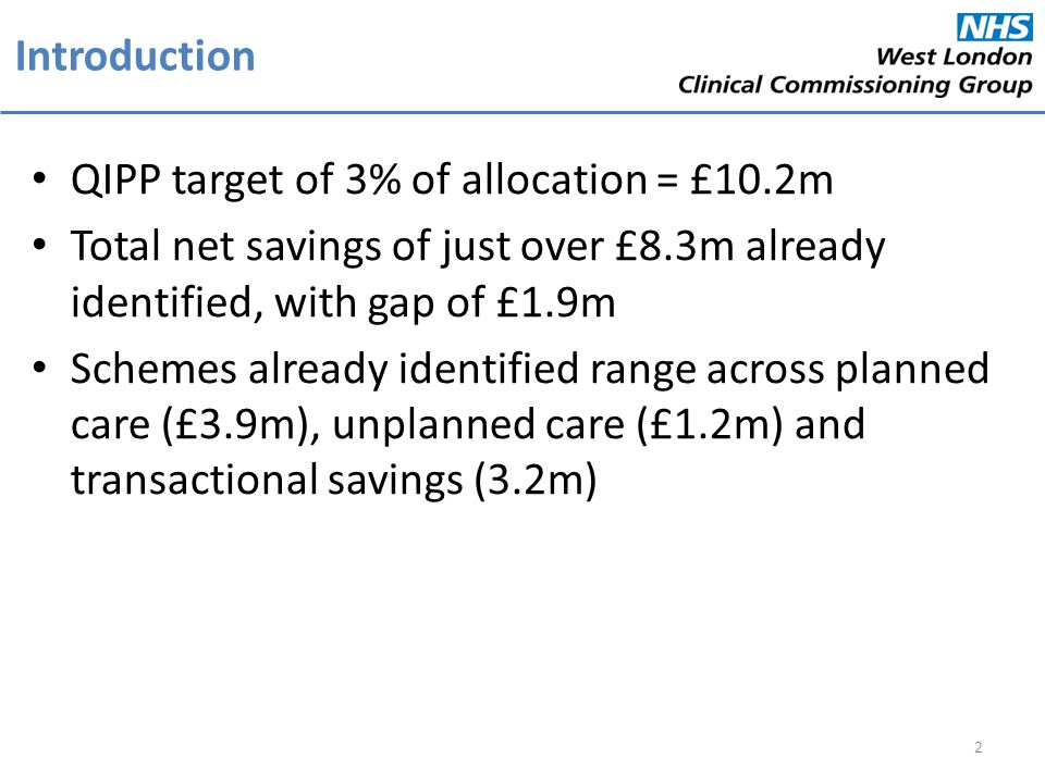 Introduction QIPP target of 3% of allocation = £10.2m Total net savings of just over £8.3m already identified, with gap of £1.9m Schemes already ident