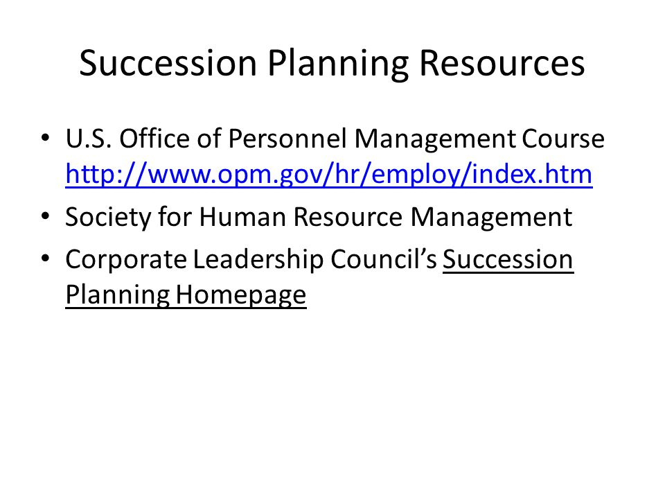 Succession Planning Resources U.S.