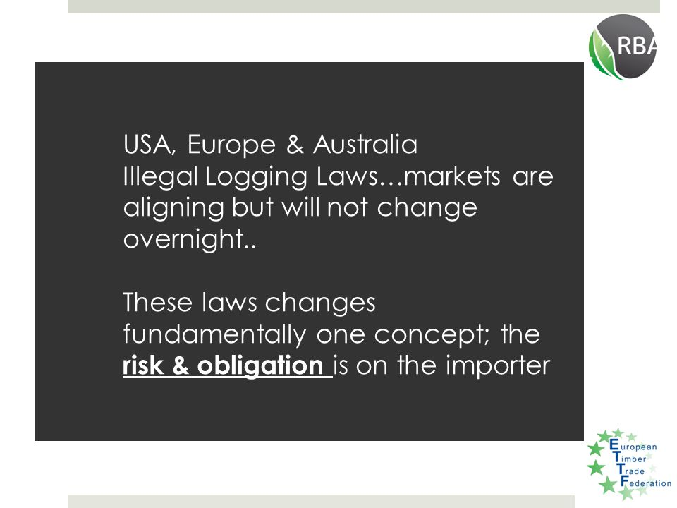 USA, Europe & Australia Illegal Logging Laws…markets are aligning but will not change overnight..