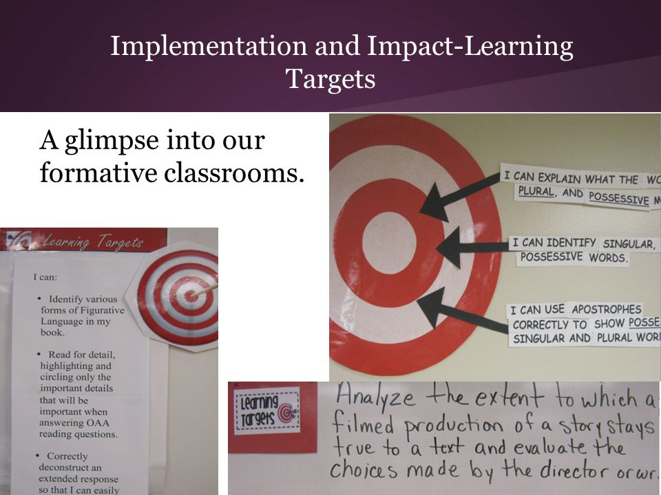Implementation and Impact-Learning Targets A glimpse into our formative classrooms.