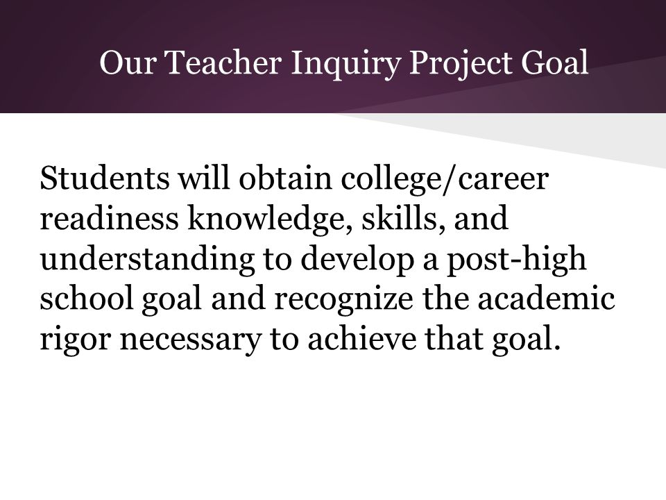 Our Teacher Inquiry Project Goal Students will obtain college/career readiness knowledge, skills, and understanding to develop a post-high school goal and recognize the academic rigor necessary to achieve that goal.