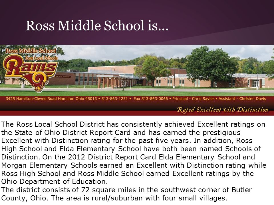 Ross Middle School is... The Ross Local School District has consistently achieved Excellent ratings on the State of Ohio District Report Card and has