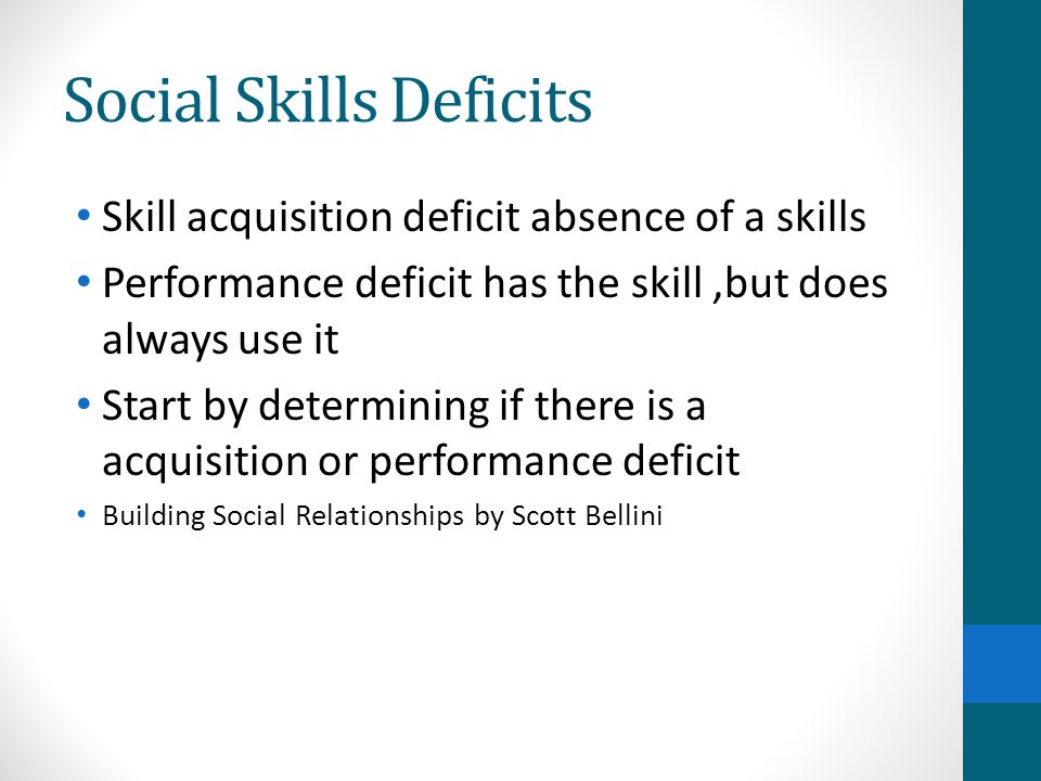 Social Skills Deficits Skill acquisition deficit absence of a skills Performance deficit has the skill,but does always use it Start by determining if there is a acquisition or performance deficit Building Social Relationships by Scott Bellini
