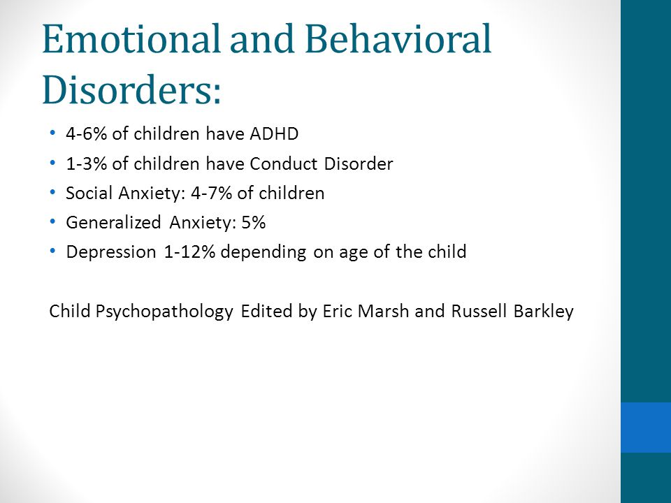 Emotional and Behavioral Disorders: 4-6% of children have ADHD 1-3% of children have Conduct Disorder Social Anxiety: 4-7% of children Generalized Anx