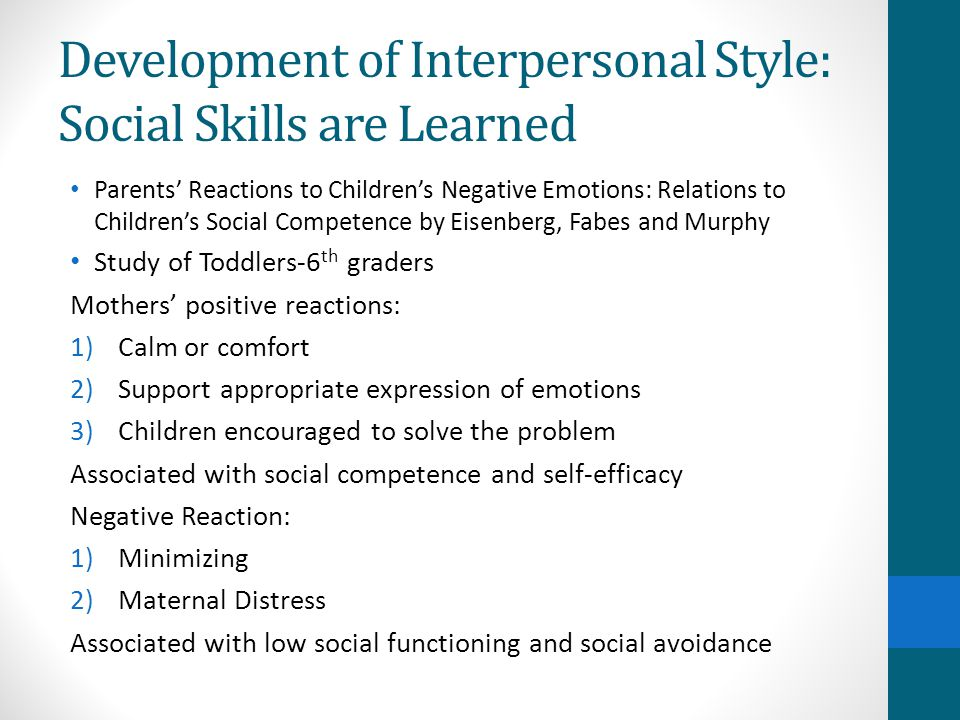 Development of Interpersonal Style: Social Skills are Learned Parents' Reactions to Children's Negative Emotions: Relations to Children's Social Competence by Eisenberg, Fabes and Murphy Study of Toddlers-6 th graders Mothers' positive reactions: 1)Calm or comfort 2)Support appropriate expression of emotions 3)Children encouraged to solve the problem Associated with social competence and self-efficacy Negative Reaction: 1)Minimizing 2)Maternal Distress Associated with low social functioning and social avoidance