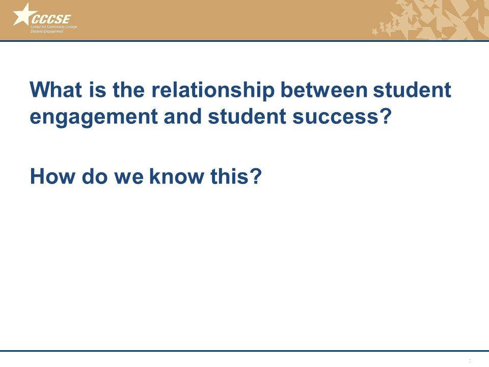 © 2011 Center for Community College Student Engagement What is the relationship between student engagement and student success.
