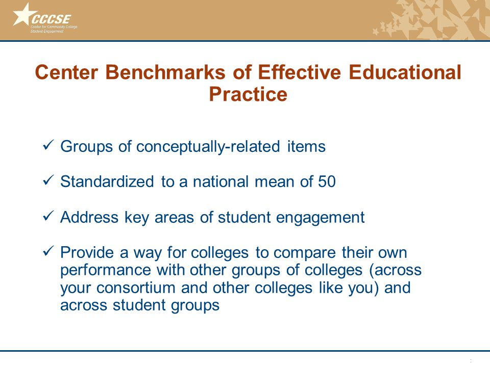 © 2011 Center for Community College Student Engagement Center Benchmarks of Effective Educational Practice Groups of conceptually-related items Standa