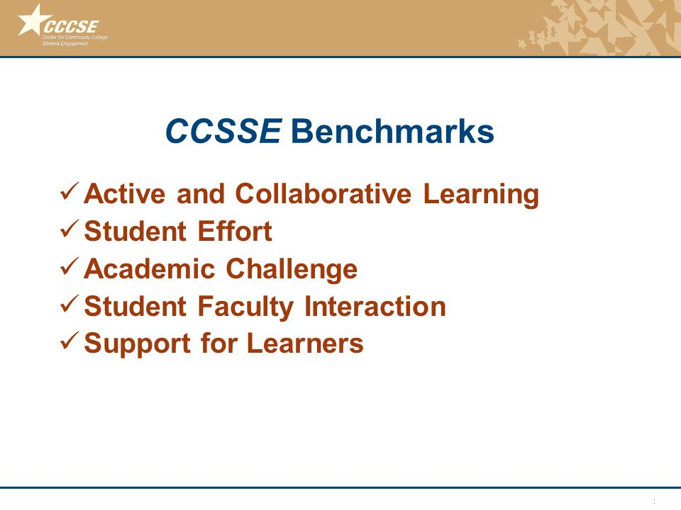 © 2011 Center for Community College Student Engagement CCSSE Benchmarks Active and Collaborative Learning Student Effort Academic Challenge Student Fa