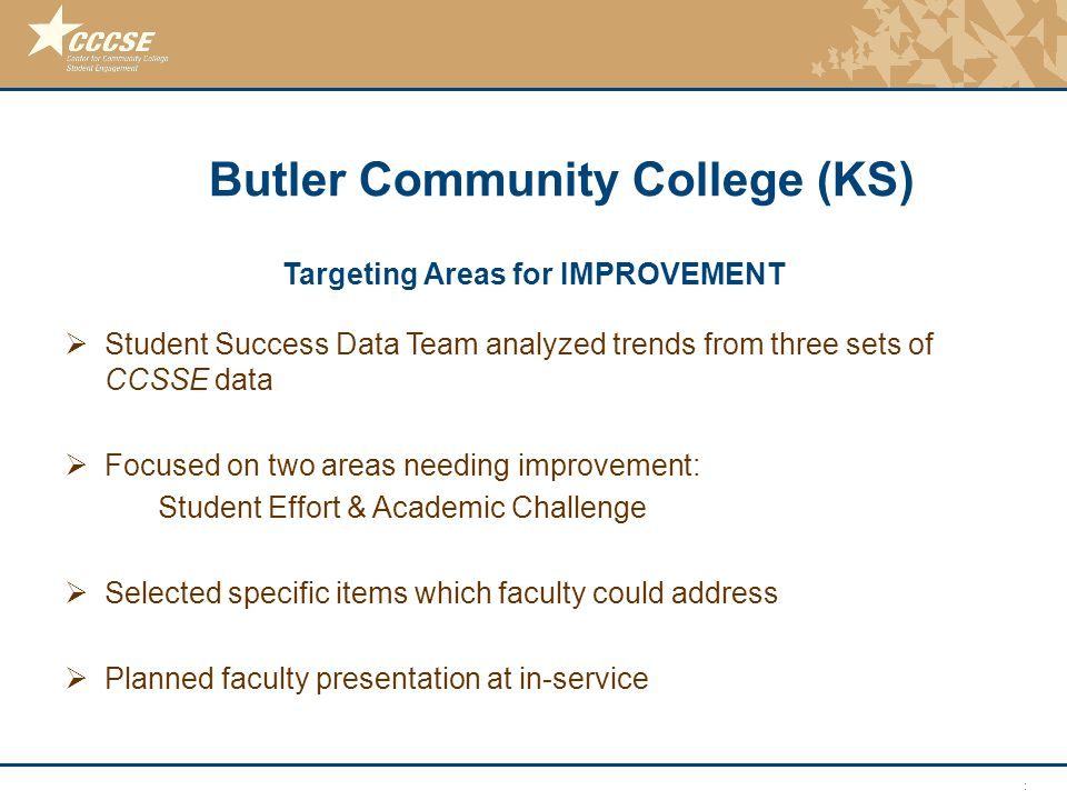 © 2011 Center for Community College Student Engagement Targeting Areas for IMPROVEMENT  Student Success Data Team analyzed trends from three sets of