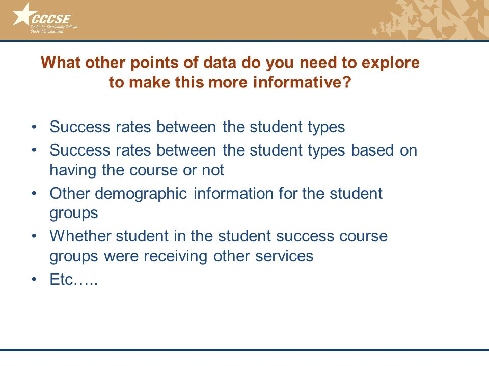 © 2011 Center for Community College Student Engagement What other points of data do you need to explore to make this more informative.