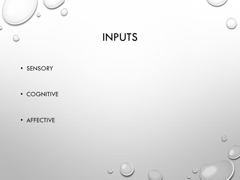 INPUTS SENSORY COGNITIVE AFFECTIVE