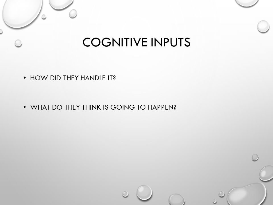 COGNITIVE INPUTS HOW DID THEY HANDLE IT WHAT DO THEY THINK IS GOING TO HAPPEN