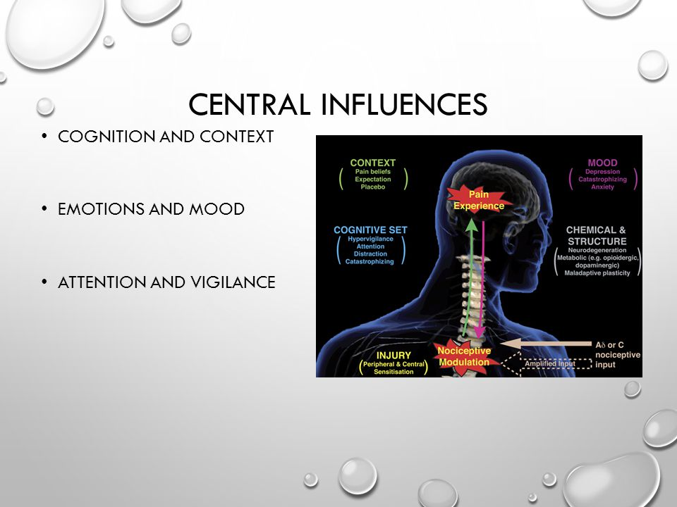 CENTRAL INFLUENCES COGNITION AND CONTEXT EMOTIONS AND MOOD ATTENTION AND VIGILANCE