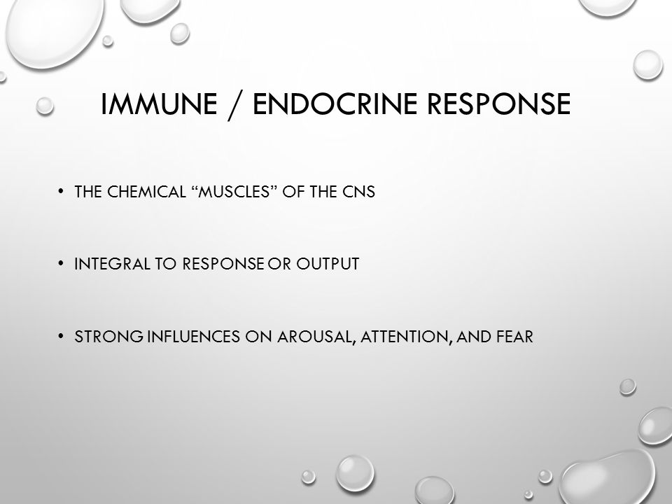 IMMUNE / ENDOCRINE RESPONSE THE CHEMICAL MUSCLES OF THE CNS INTEGRAL TO RESPONSE OR OUTPUT STRONG INFLUENCES ON AROUSAL, ATTENTION, AND FEAR