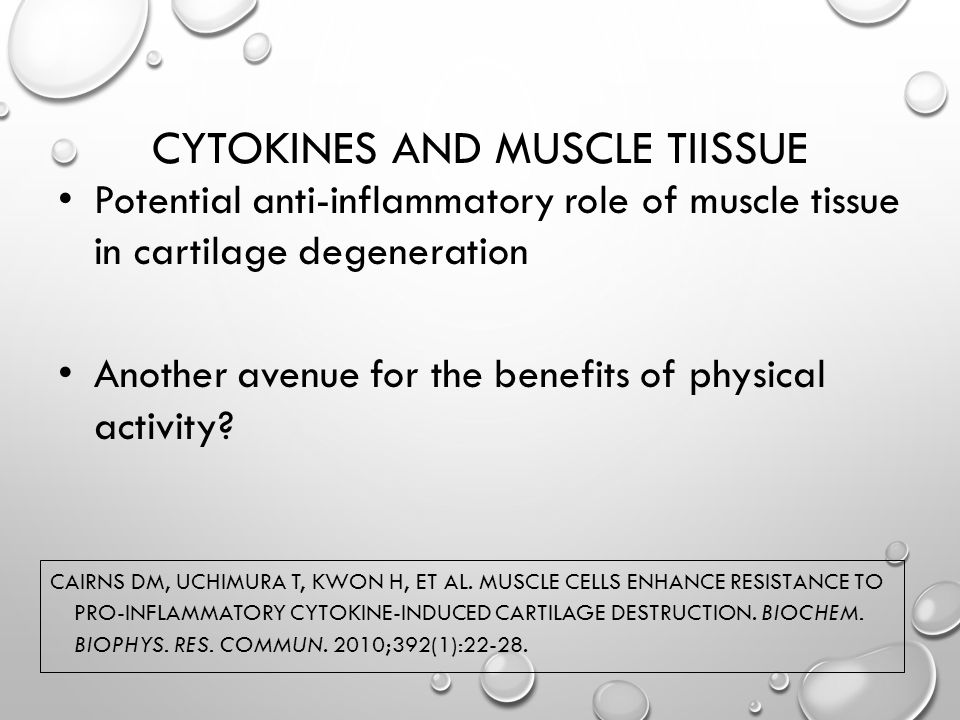 CYTOKINES AND MUSCLE TIISSUE CAIRNS DM, UCHIMURA T, KWON H, ET AL.