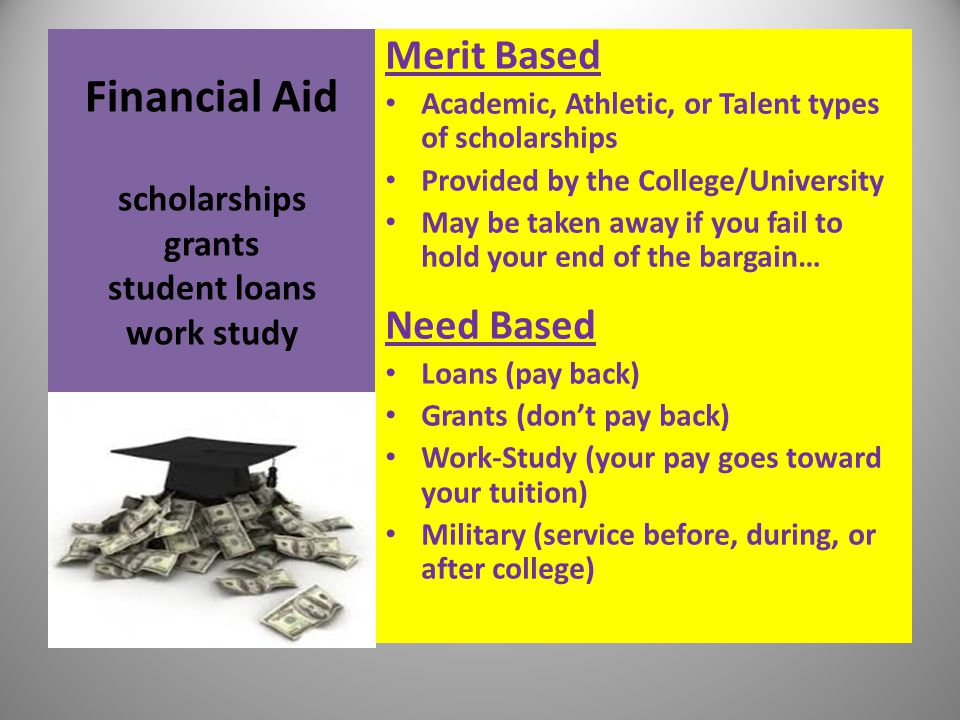 Financial Aid scholarships grants student loans work study Merit Based Academic, Athletic, or Talent types of scholarships Provided by the College/Uni