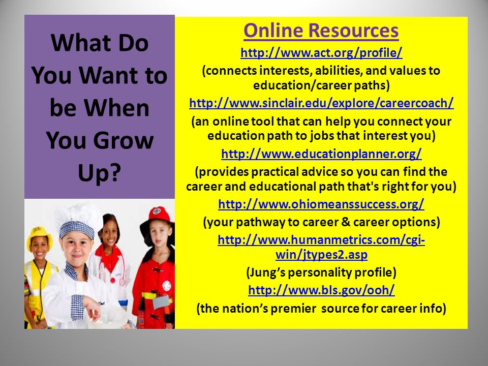 What Do You Want to be When You Grow Up? Online Resources http://www.act.org/profile/ (connects interests, abilities, and values to education/career p