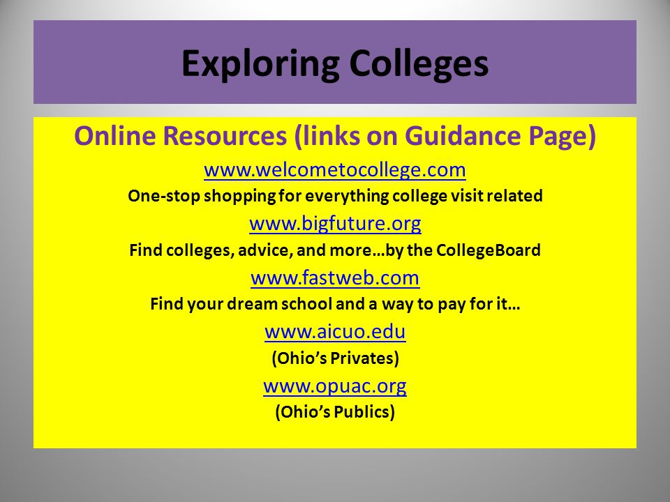 Exploring Colleges Online Resources (links on Guidance Page) www.welcometocollege.com One-stop shopping for everything college visit related www.bigfu
