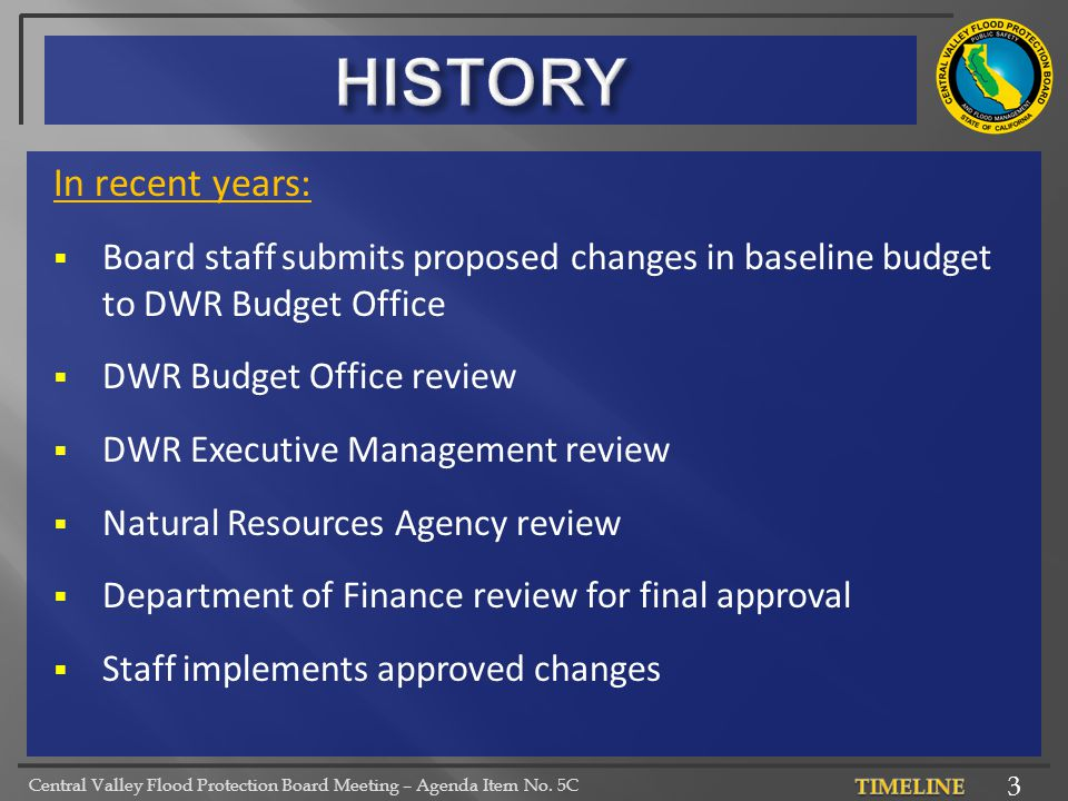 Central Valley Flood Protection Board Meeting – Agenda Item No. 5C In recent years:  Board staff submits proposed changes in baseline budget to DWR B