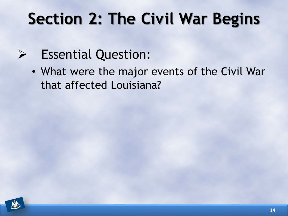 Section 2: The Civil War Begins  Essential Question: What were the major events of the Civil War that affected Louisiana.