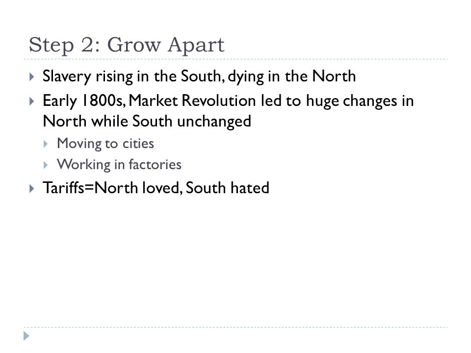 Step 2: Grow Apart  Slavery rising in the South, dying in the North  Early 1800s, Market Revolution led to huge changes in North while South unchang