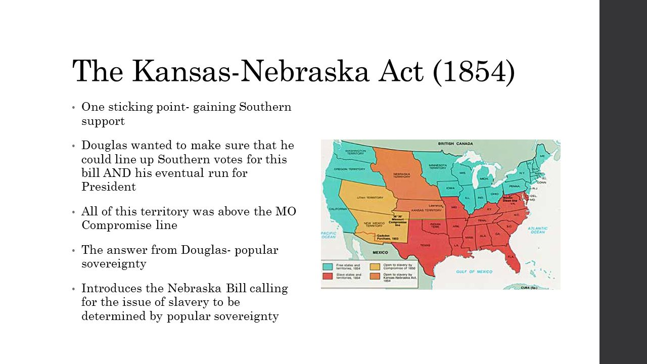 The Kansas-Nebraska Act (1854) One sticking point- gaining Southern support Douglas wanted to make sure that he could line up Southern votes for this bill AND his eventual run for President All of this territory was above the MO Compromise line The answer from Douglas- popular sovereignty Introduces the Nebraska Bill calling for the issue of slavery to be determined by popular sovereignty