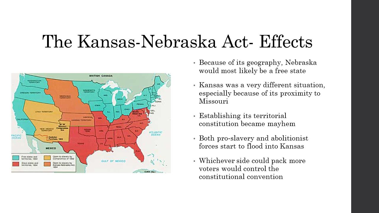 The Kansas-Nebraska Act- Effects Because of its geography, Nebraska would most likely be a free state Kansas was a very different situation, especially because of its proximity to Missouri Establishing its territorial constitution became mayhem Both pro-slavery and abolitionist forces start to flood into Kansas Whichever side could pack more voters would control the constitutional convention