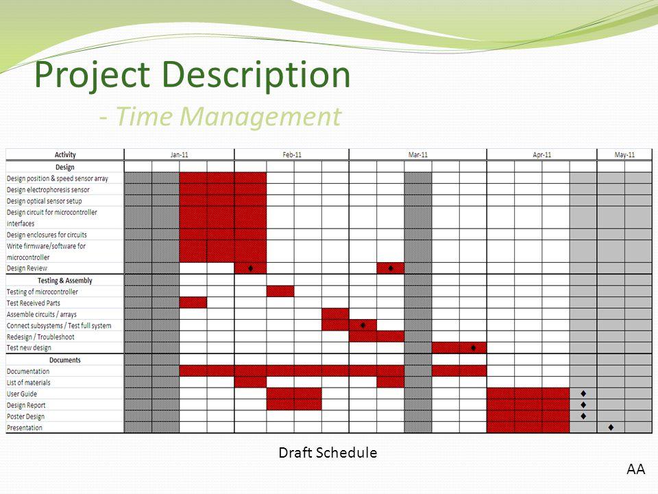Project Description - Time Management Draft Schedule AA