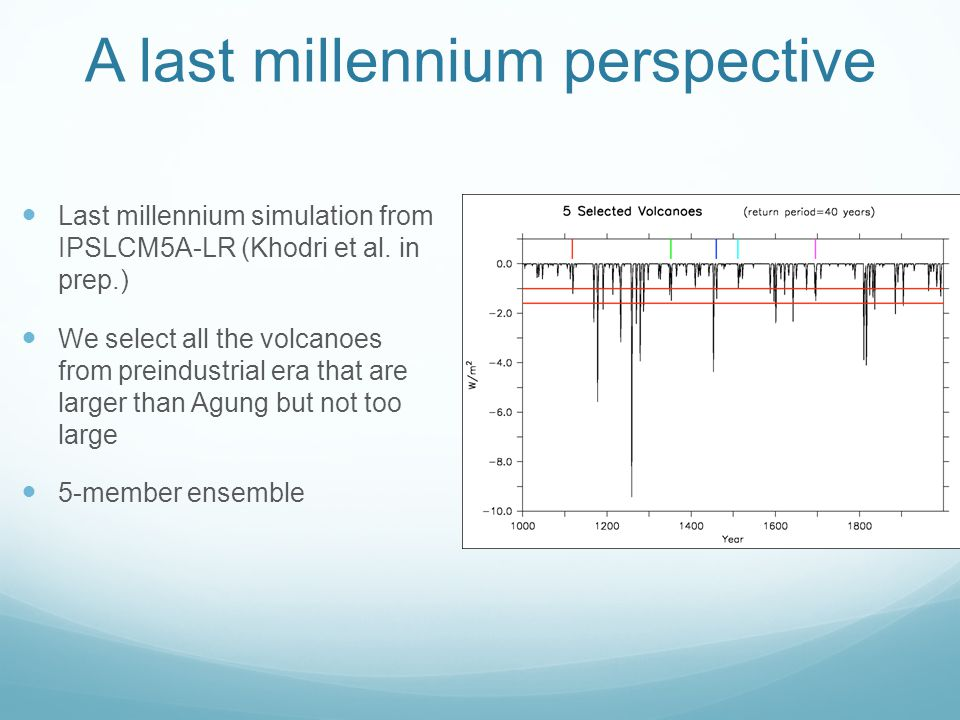 A last millennium perspective Last millennium simulation from IPSLCM5A-LR (Khodri et al. in prep.) We select all the volcanoes from preindustrial era