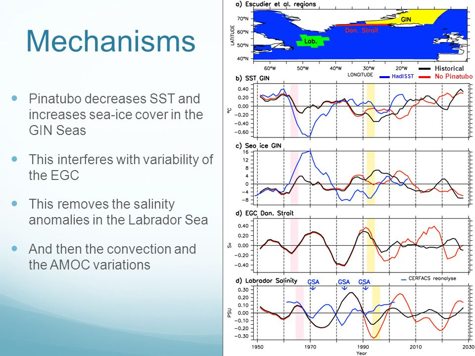 Mechanisms Pinatubo decreases SST and increases sea-ice cover in the GIN Seas This interferes with variability of the EGC This removes the salinity anomalies in the Labrador Sea And then the convection and the AMOC variations HadISST Historical No Pinatubo