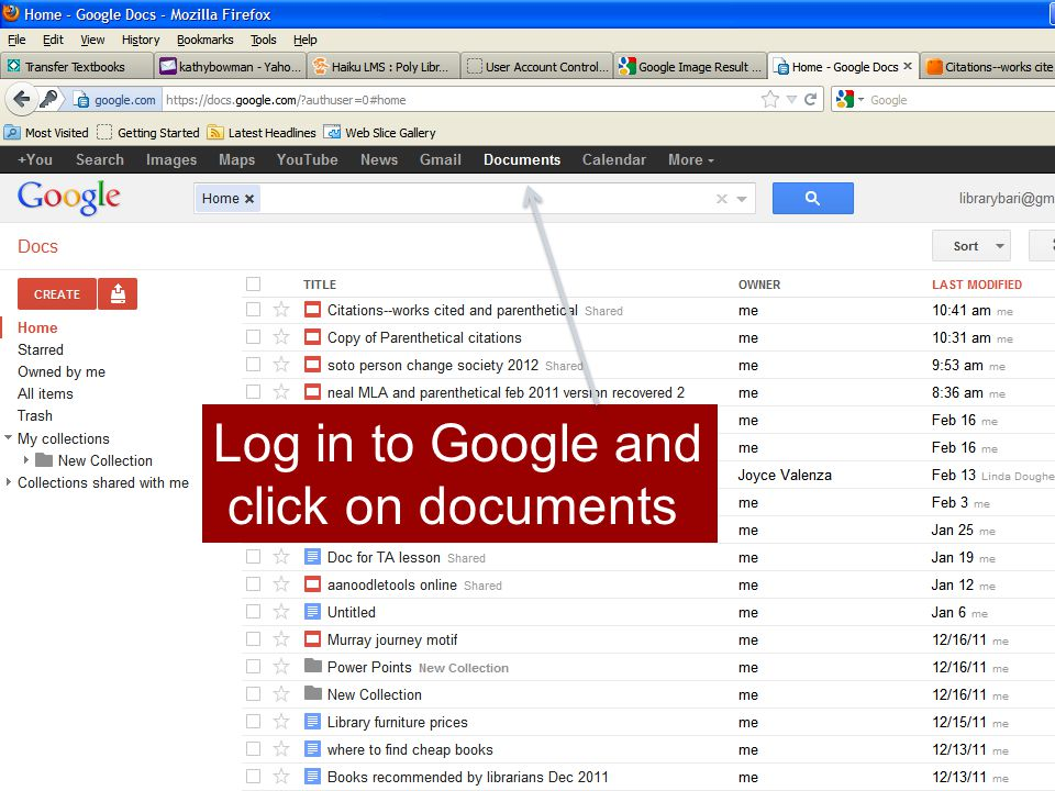 Log in to Google and click on documents