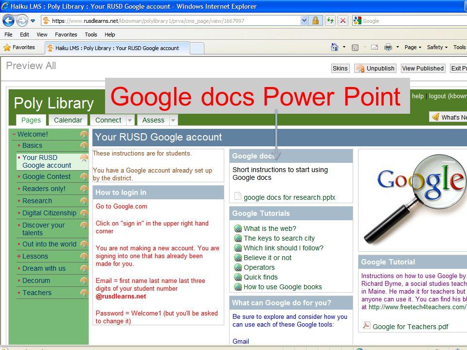 Google docs Power Point
