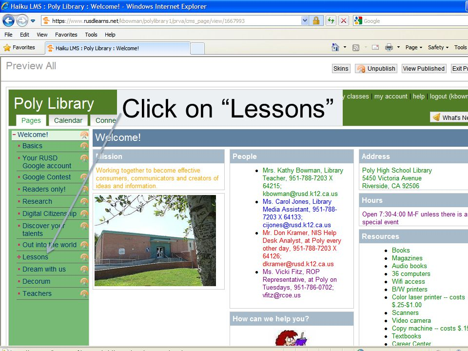 Click on Lessons
