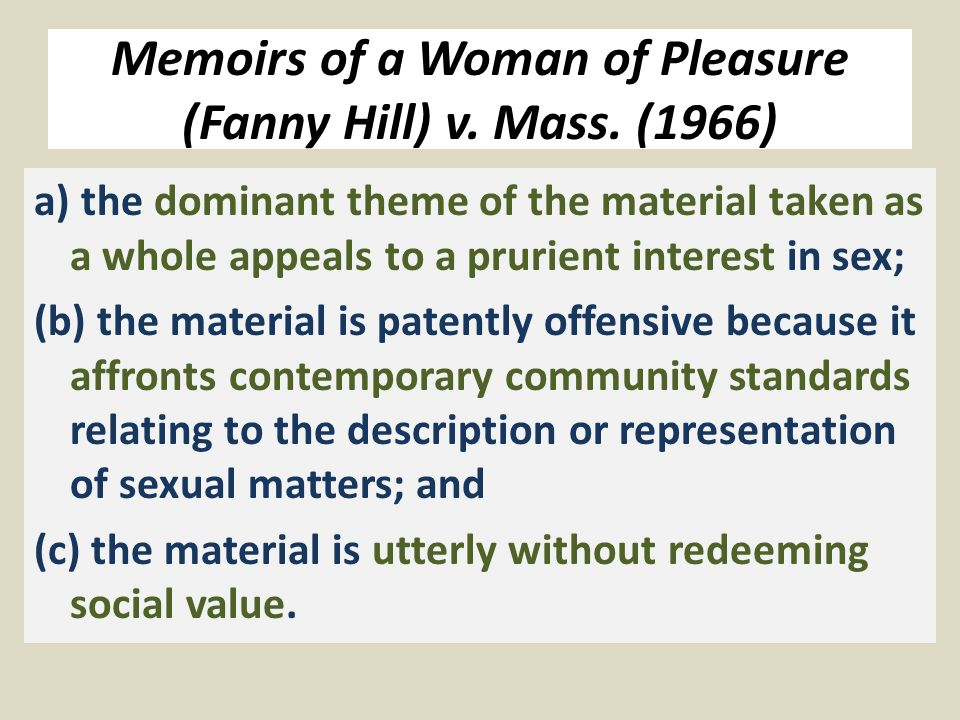 Memoirs of a Woman of Pleasure (Fanny Hill) v. Mass.