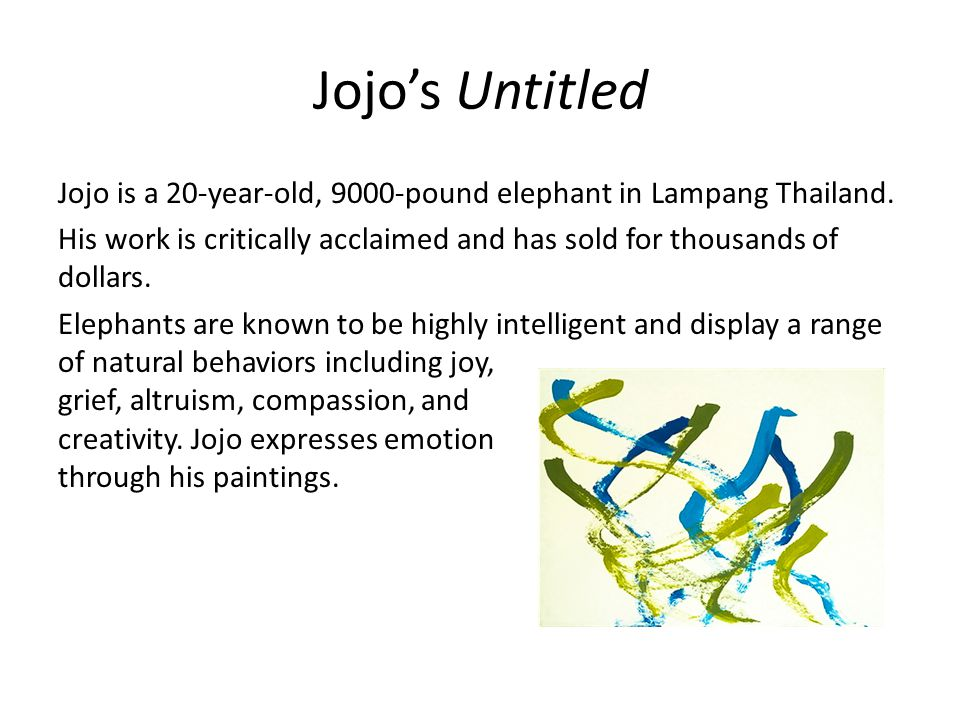 Jojo's Untitled Jojo is a 20-year-old, 9000-pound elephant in Lampang Thailand.