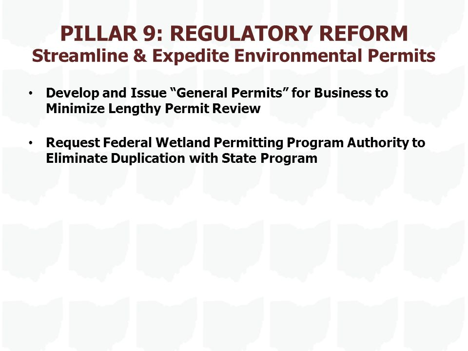 PILLAR 9: REGULATORY REFORM Streamline & Expedite Environmental Permits Develop and Issue General Permits for Business to Minimize Lengthy Permit Review Request Federal Wetland Permitting Program Authority to Eliminate Duplication with State Program